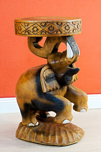 Wood Side Table Elephant 19 11/16in Wooden Night Solid Stool New