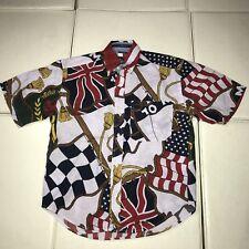 TOMMY HILFIGER FLAG PRINT BUTTON UP SHIRT LOTUS VINTAGE 1994 BOYS SMALL