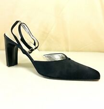 Donald J Pliner Womens Black Satin Finish Strappy Mules Shoes 9N Made In Italy