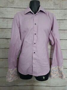 ROBERT GRAHAM Pink casual Stripped shirt 16 x 41 Double Cuff Floral - SZ L (A1)