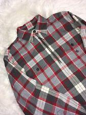 Ralph Lauren Gray Red Plaid Cotton Lumber Jack Pull Over 1/2 Zip Size M