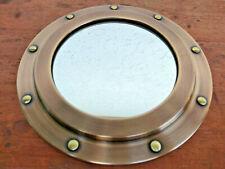 Miroir hublot en laiton patiné déco marine,neuf, diamètre 23cm