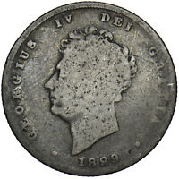 1829 SHILLING - GEORGE IV BRITISH SILVER COIN