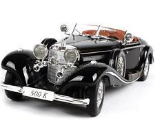 Maisto 1:18 Mercedes Benz 500 K Type Specialroadst Black Diecast Model Car Toy