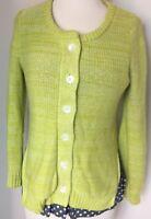 Small Anthropologie Field Flower Cardigan Sweater Lime Green Polka Dot