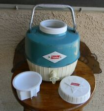 VTG 60s COLEMAN BLUE DIAMOND LOGO 1 GAL CAMPING THERMOS/WATER JUG W/CUP MADE USA