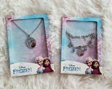 New! Lot of 2! Disney Frozen Pendant Necklace and Bracelet Princess Anna Elsa
