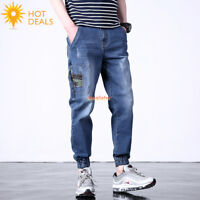 Men's Stretch Jogger Camo Denim Pants Distressed Loose Cropped Jeans Plus Size
