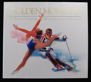 Golden Moments A Collection Of United States 84 Olympic Hard Cover Book W/Stamps