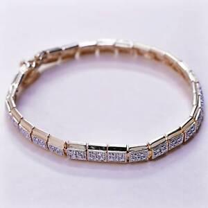 """7.25"""", Vintage vermeil gold over sterling silver tennis bracelet, 925 bracelet"""