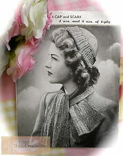 1940s Knitting Pattern For A Scarf & Cap Hat In Lacy Knitting. FREE UK P&P