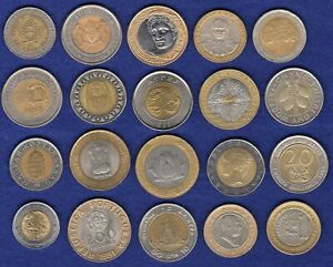 Bi-Metallic Coins, 20 Different Countries, Great Starter Collection (t3854)