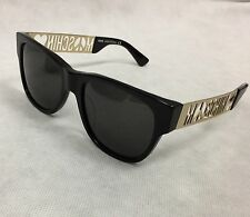 Moschino Peace Logo square frame Sunglasses Made In Italy # MO805S01 Black-Gold