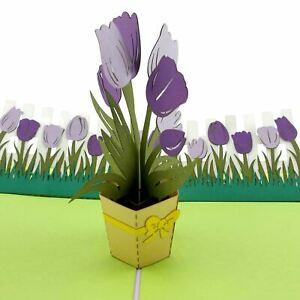 Tulip Bouquet (purple) 3d Pop Up Card
