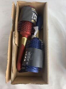 """2Pack Conair Velvet Touch Round Brush w/GoldHighlights 9""""Nylon Bristles red/blue"""