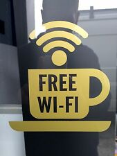Catchy Coffee shop  GOLD FREE WI-FI business window stickers - PACK OF TWO