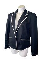 New Worthington Black Lined Jacket Blazer XL Extra Large Zip Pockets NWT $60