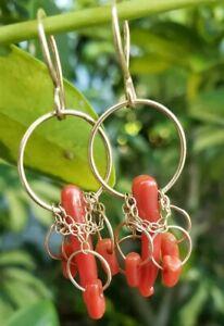 Melissa Joy Manning 14Kt Coral Drop Earrings