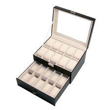 20 Slot Leather Watch Box Display Case Organizer Glass Top Jewelry Storage New