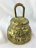 VINTAGE ETCHED BRASS ACNVS X PELICANVS LEO X AQVILA ENGLISH BRASS BELL