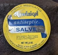 Rawleigh Antiseptic Salve 5 oz Tin, Vintage Yellow Blue Medicine Container
