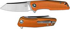 Stedemon Knife 3¾ 440C Steel Blade Reverse Tanto Blade Flipper Orange G10 Handle