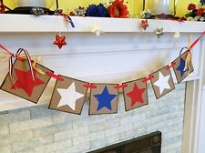 Red White and Blue STARS Fourth of July Banner, Patriotic Holiday Garland, Count