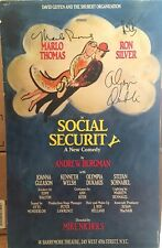 Marlo Thomas, Ron Silver + Signed SOCIAL SECURITY Broadway Poster Windowcard