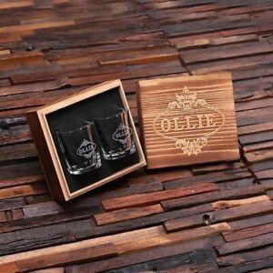 Personalised Engraved Set of 2 Shot Glasses w/ Wooden Gift Box for Men Ushers