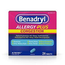 6 Pack Benadryl Allergy Plus Congestion Ultra Tablets, 24 Count each