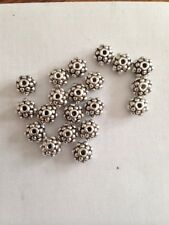 10 6mm Rondell Shape Bali Style Pewter Beads With Flower Design L@@K # 22