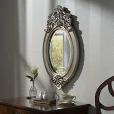 "Windsor Antique Style Classic Silver Crested Frame Oval Wall Mirror 17"" x 27.5"""