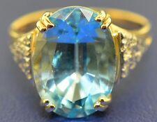 14k Yellow Gold Blue Topaz and Diamond Ladies Statement Ring