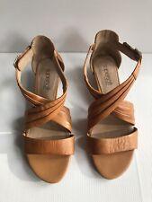 DIANA FERRARI Supersoft Baelon Tan Leather Low Wedge Heel Sandals - Size 7C