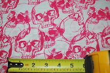 Skulls print on jersey knit fabric 100 % Rayon Fuschia White 7 oz By the yard