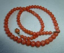 ANTIQUE VICTORIAN CORAL STRAND CHOKER NECKLACE CORAL CLASP