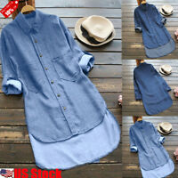 Womens Ladies Long Sleeve Casual Button V Neck T Shirt Faux Demin Blouse Tops US