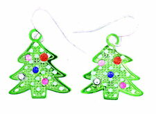 sweet and pretty green Christmas tree earrings with crystal