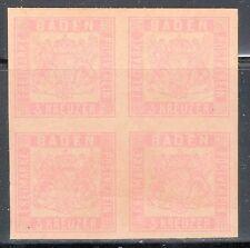 Baden, Sc#20a, block of 4, 2013 CV $400,000, * Forgery *, Altdeutschland