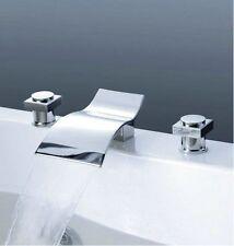 Waterfall Spout Bathroom Basin Mixer Tap Bathtub 3 Piece Sink Faucet Chrome Set