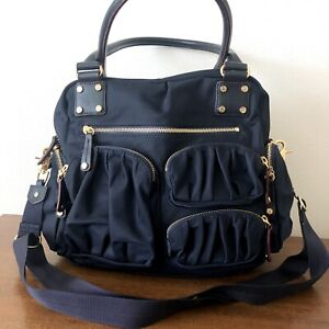 $425 NEW MZ Wallace Frankie NAVY BLUE With Detachable Pouch Italian Purse Bag