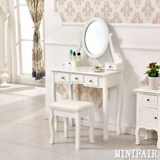 White Makeup Desk Dressing Table with Stool 5 Drawers and Oval Mirror Bedroom