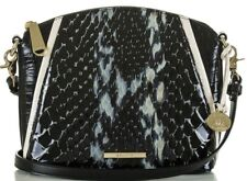❤BRAHMIN MINI DUXBURY BLACK CARLISLE SNAKE CROC CREAM LEATHER DOME EVENING BAG❤
