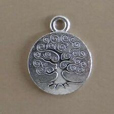 6 breloques pendentifs arbre de vie couleur argentée vieillie -bc312
