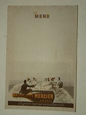 MENU Ancien Champagne MERCIER Epernay   publicitaire vin