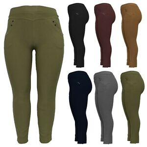 NEW LADIES HIGH RISE PLUS SIZE SKINNY FIT WOMENS STRETCH TROUSERS JEGGINGS
