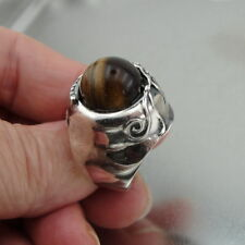 Hadar Designers Handmade 925 Sterling Silver Tiger Cat's Eye Ring size 7.5 (H)Y