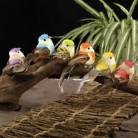 Set Of 6 Fake Feather Bird Xmas Tree Decor Perched Woodland Birds Decor Part