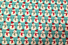 0.5 metre Christmas Snowmen - Blue 100% Cotton Fabric 135cm wide