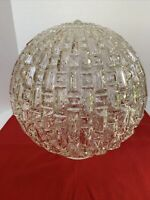 """VTG MCM Textured GLOBE Light Cover Clear Glass 10"""" Replacement Shade GORGEOUS!"""